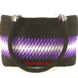Multi color handmade crochet double shoulder purses