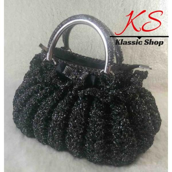 Black color handmade crochet purses