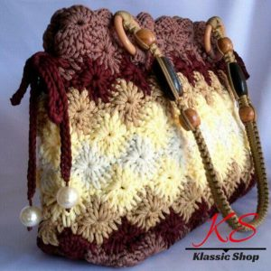 Multi color handmade crochet bag double shoulder strap