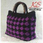 Multi color handmade crochet purse wooden double handles