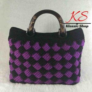 Multi color handmade crochet purse wooden double handles