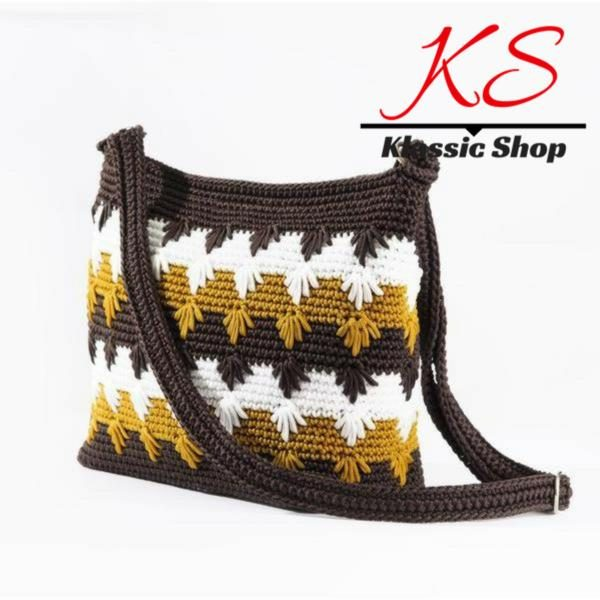 Multi color handmade crochet bag cross-body shoulder bag