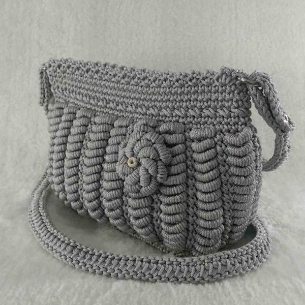 Grey color handmade crochet cross-body bag