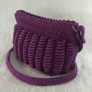 Purple Handmade crochet cross-body bag