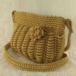 Gold color handmade crochet cross-body bag