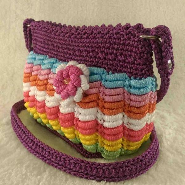 Multi color handmade crochet cross-body bag