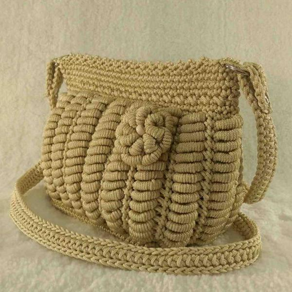 Creamy handmade crochet cross-body bag