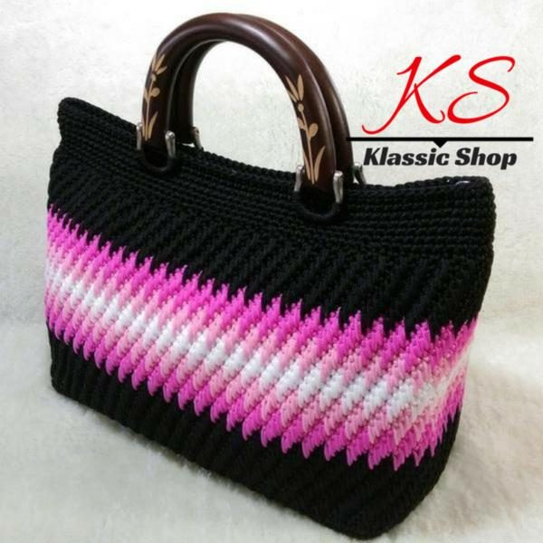 Multi color handmade crochet bag double wooden handle