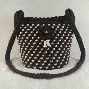 Brown color handmade crochet beaded cross-body bag