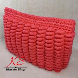 Peach color handmade crochet clutch bags unique pattern variety colors