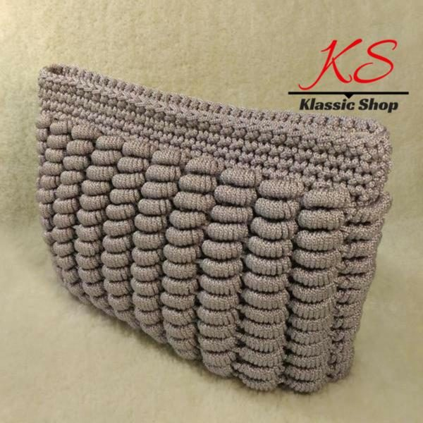 Gray color handmade crochet clutch bags unique pattern variety colors