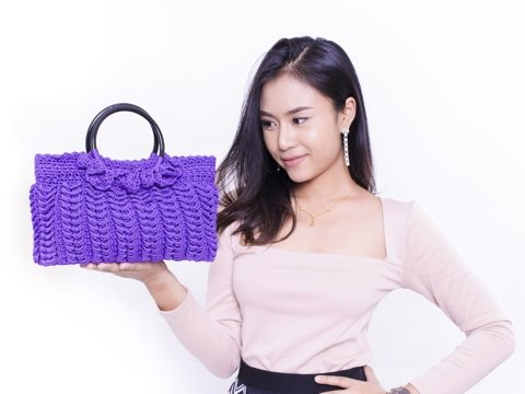 Violet handmade crochet double round handle purse