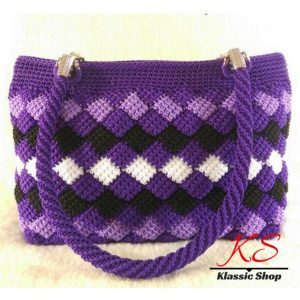Multi color handmade crochet handbags double handle