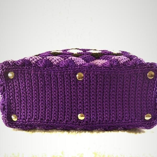 Multi color handmade crochet handbags double handle