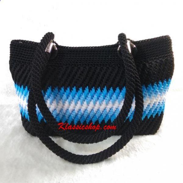 Multi color handmade crochet double shoulder purses