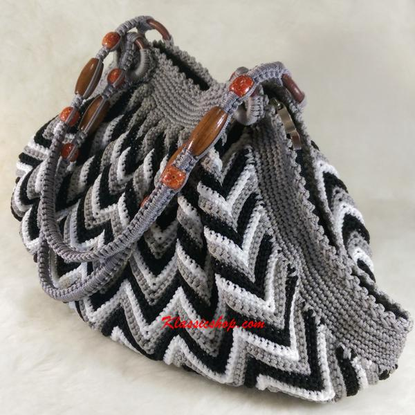 Multi color handmade crochet handbag double shoulder strap