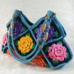 Light Blue Granny Square floral pattern handmade Crochet Bags decorative beaded shoulder bag