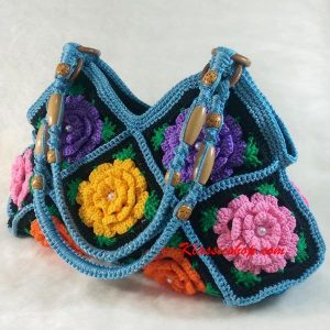 Light Blue Granny Square floral pattern handmade Crochet Bags decorative beaded shoulder bag