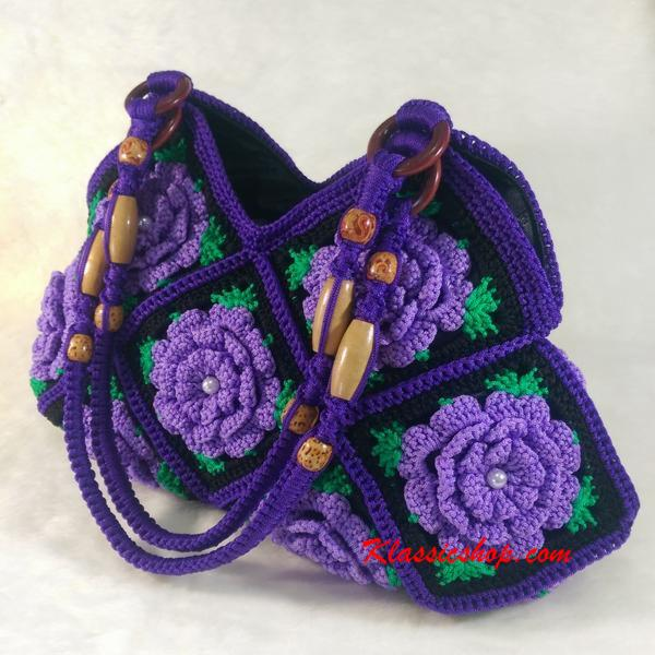 Purple Granny Square floral pattern handmade crochet bags decorative wood beads shoulder bag