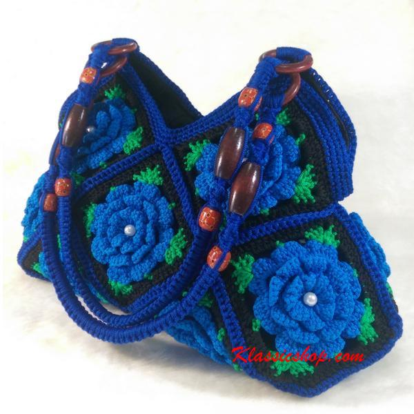 Blue Granny Square floral pattern handmade Crochet Bags decorative wood beads shoulder bag