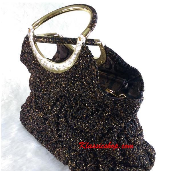 Black color handbags alluring touch of silver or gold double handle