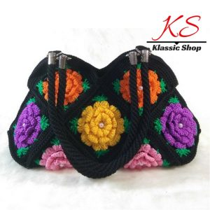 Black Granny Square Crochet floral pattern mixed colors handmade crochet shoulder bags handles attached with stainless steel ring