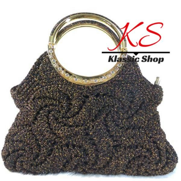 Black color handbags alluring touch of silver of gold double handle