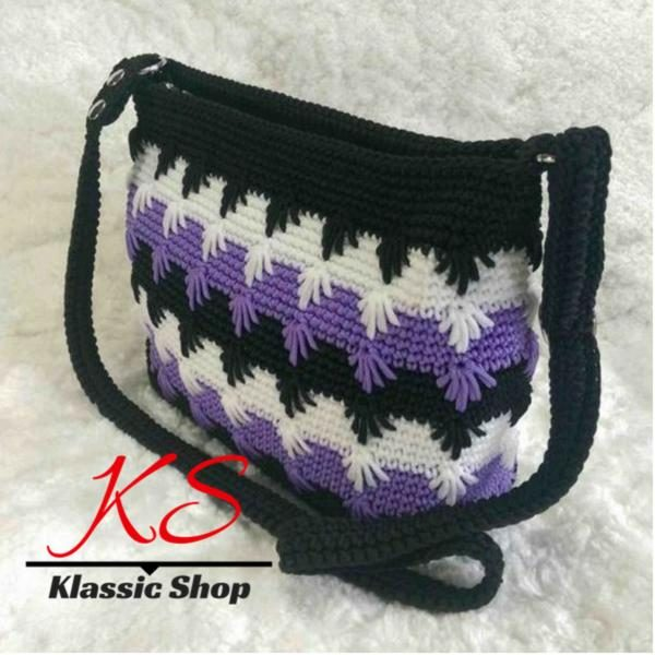 Multi color handmade crochet cross-body shoulder bag