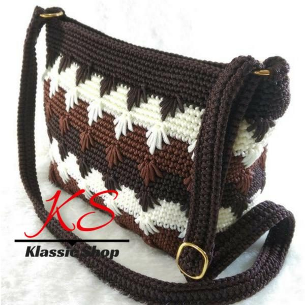 Multi color handmade crochet bag cross body shoulder bag