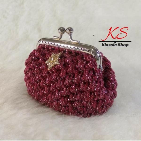 Burgundy mini crochet coin purse