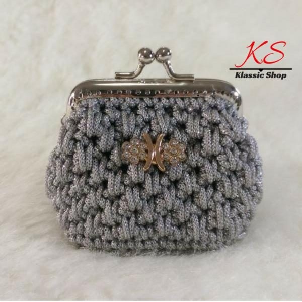 Gray-light mini crochet coin purse