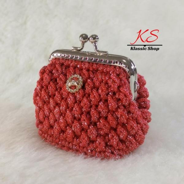 Red mini crochet coin purse