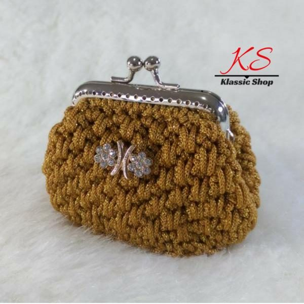 Gold mini crochet coin purse