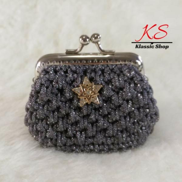 Gray dark mini crochet coin purse