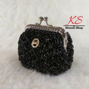 Black mini crochet coin purse