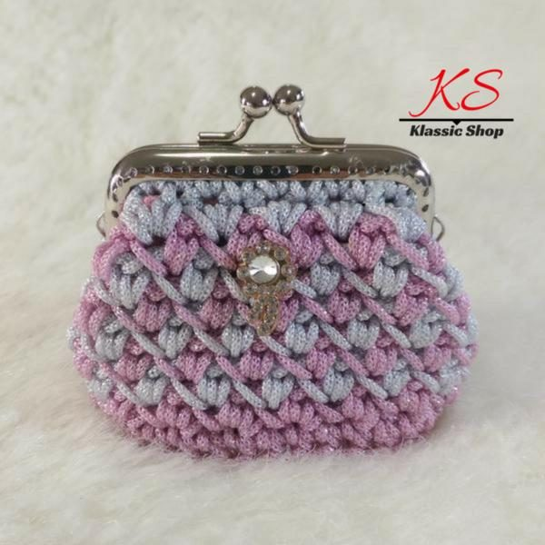 Pink-white mini crochet coin purse
