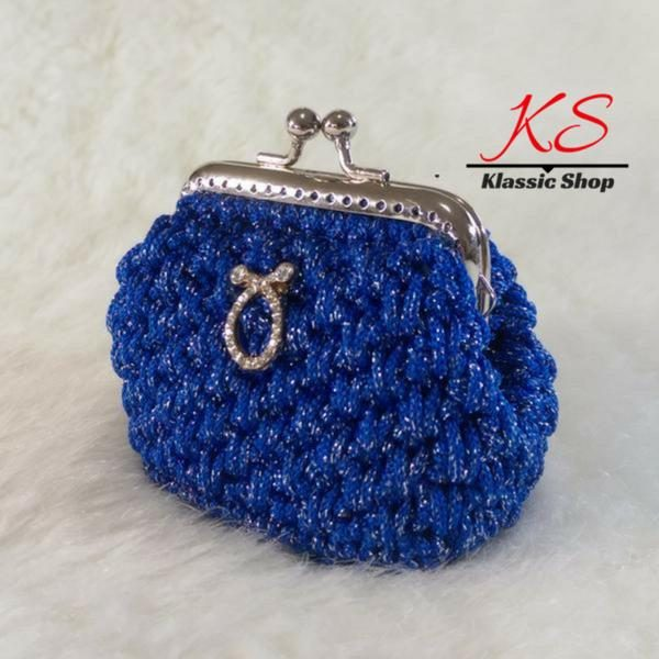 Blue-dark mini crochet coin purse