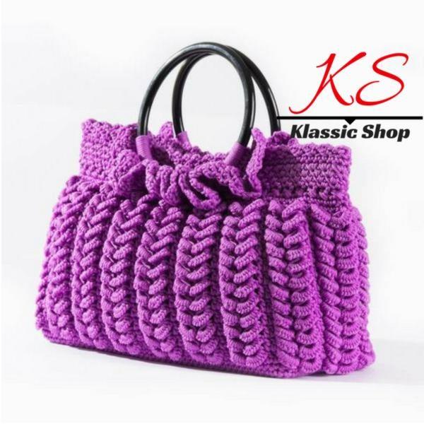 Purple color handmade crochet purse double round handle